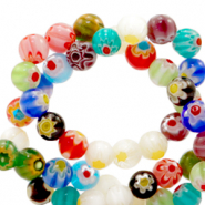 Millefiori beads round flower 6mm Multicolour