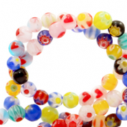 Millefiori beads round flower 4mm Multicolour