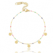 Stainless steel anklets rainbow coins Gold-Multicolour