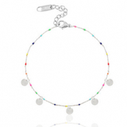 Stainless steel anklets rainbow coins Silber-Multicolour