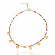 Stainless steel anklets rocailles and coins Gold-Multicolour