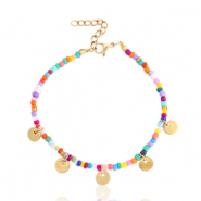 Stainless steel bracelets rocailles and coins Gold-Multicolour