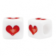 Acrylic beads summer White-Red