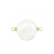 Shell pearl shine connector round 12mm White