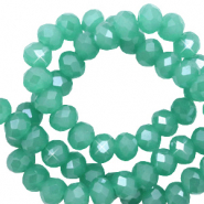 Top faceted beads 3x2mm disc Light Malachite Green-Pearl Shine Coating