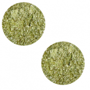 12 mm flat Polaris Elements cabochon Goldstein Willow Green