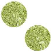 12 mm flat Polaris Elements cabochon Goldstein Bright Lime Green