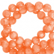 Polaris beads round 6 mm Mosso shiny Vibrant Orange