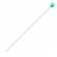 DQ European metal findings headpin 52mm Gold-Turquoise Green (nickel free)