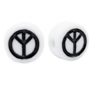 Acrylic letter beads peace White-Black
