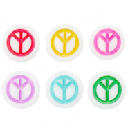 Acrylic letter beads peace Multicolour-White