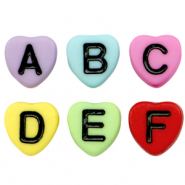 Acrylic letter beads heart mix Multicolour-Black