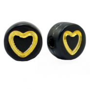 Acrylic letter beads heart Black-Gold