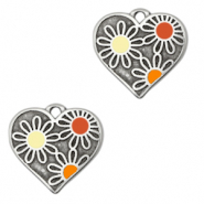 DQ European metal charms heart with flowers Antique Silver-Multicolour (nickel free)