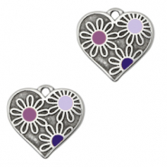 DQ European metal charms heart with flowers Antique Silver-Purple (nickel free)