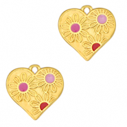 DQ European metal charms heart with flowers Gold-Pink (nickel free)