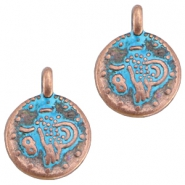DQ European metal beads copper blue patina DQ European metal copper blue patina charms