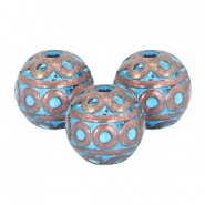 DQ European metal beads copper blue patina DQ European metal copper blue patina beads