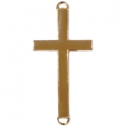Medium golden charm 2 loops cross Brown