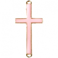 Medium golden charm 2 loops cross Licht rose