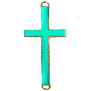 Medium golden charm 2 loops cross Bright green