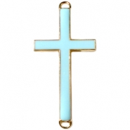Medium golden charm 2 loops cross Licht blue