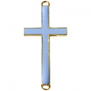Medium golden charm 2 loops cross Blue grey