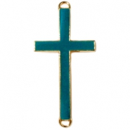 Golden charm 2 loops cross  Dark blue green