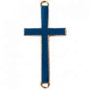 Medium golden charm 2 loops cross Dark blue