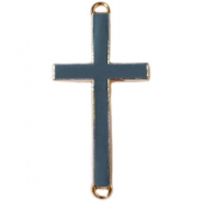 Medium golden charm 2 loops cross Deep grey