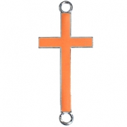 Silver charm 2 loops cross Coral orange