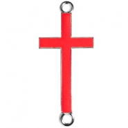 Silver charm 2 loops cross Spicy orange