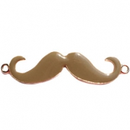 Large golden charm 2 loops moustache Brown
