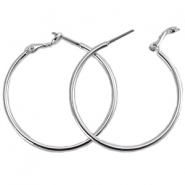DQ creole earrings 40mm Silver plated