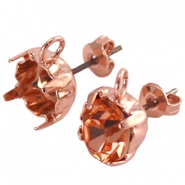 DQ earpins with loop for SS 39 chaton Rose gold plated