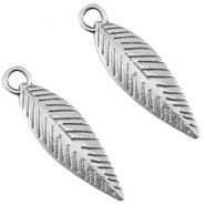 DQ charms feather Antique silver (nickel free)