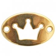 Oval DQ metal charm two eyes crown Gold (nickel free)