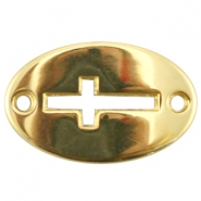 Oval DQ metal charm two eyes cross Gold (nickel free)