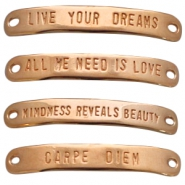 DQ metal charm two eyes slogan Rose gold (nickel free)