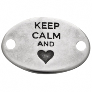 "Heartshaped charm two eyes ""KEEP CALM""  Antique silver (nickel free)"