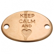 "Heartshaped charm two eyes ""KEEP CALM""  Rose gold (nickel free)"
