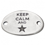 "Starshaped charm 2 eyes ""KEEP CALM""  Antique silver (nickel free)"