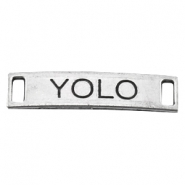 "Charm 2 eyes ""YOLO"" Antique silver"