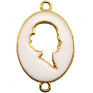 Cameo charm 2 loops Gold-white