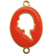 Cameo charm 2 loops Gold-fiery red