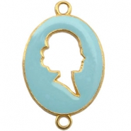 Cameo charm 2 loops Gold-haze blue