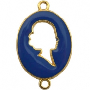 Cameo charm 2 loops Gold-deep ultramarine blue