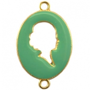 Cameo charm 2 loops Gold-deep crysolite green