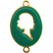 Cameo charm 2 loops Gold-emerald green