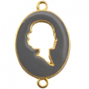 Cameo charm 2 loops Gold-grey
